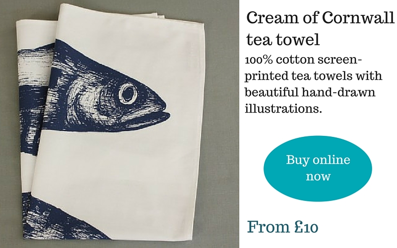 Mackerel screen-printed tea towel