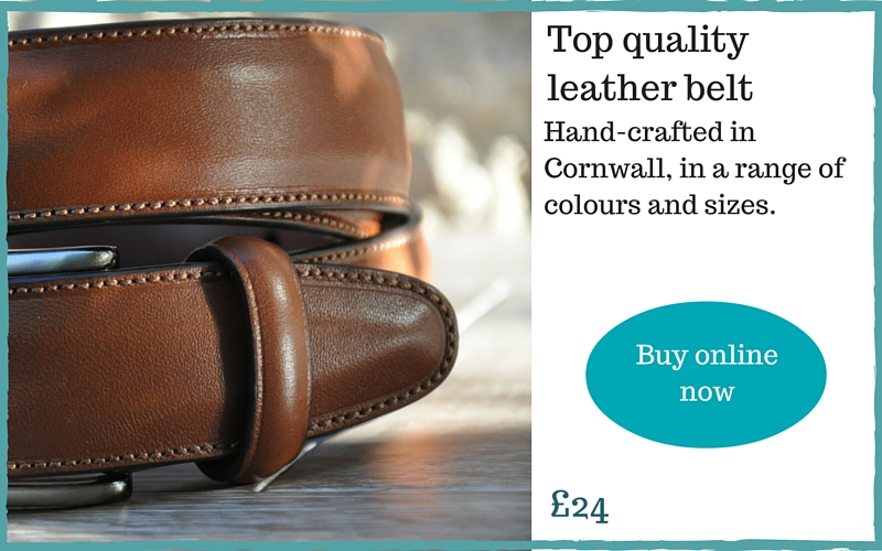 Leather belt made in Cornwall