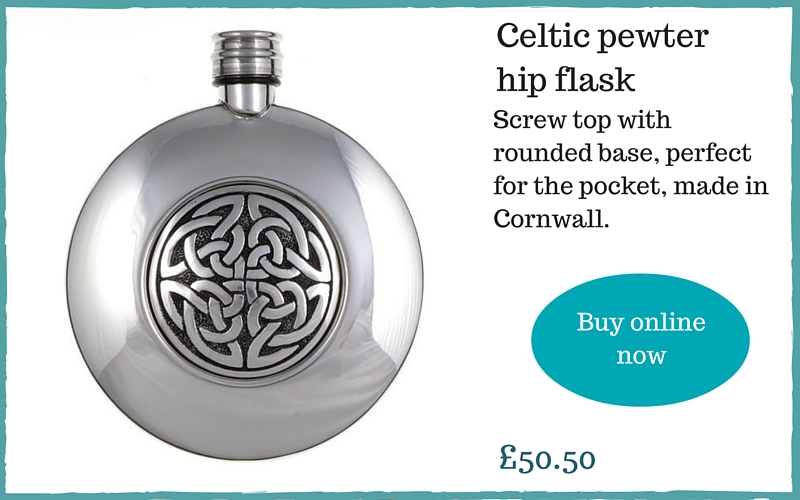 Cornish gifts for men - Celtic pewter hip flask