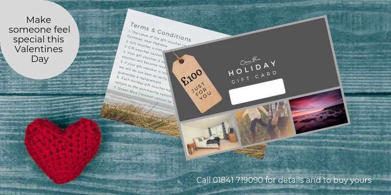 Ocean Blue Cornwall holiday gift vouchers 2019
