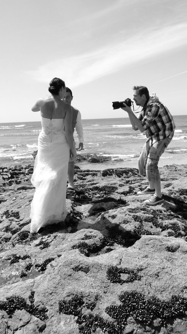 Newly weds at Treyarnon Bay Cornwall