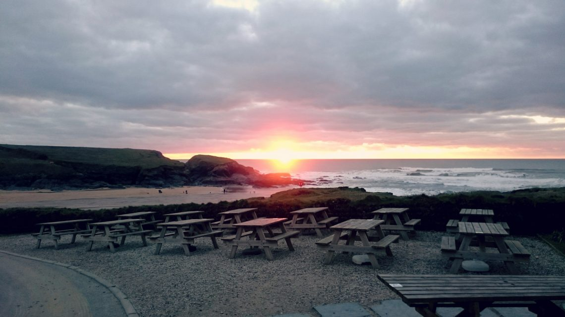 Sunset from Youth Hostel Treyarnon Bay