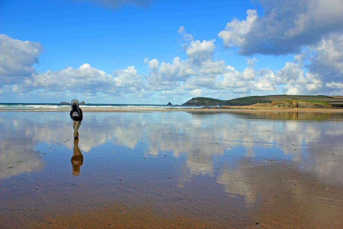 Reflections in the sand at Treyarnon Bay Cornwall