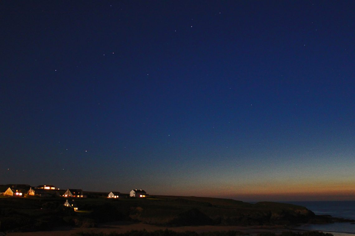 Starry skies over Treyarnon Bay Cornwall