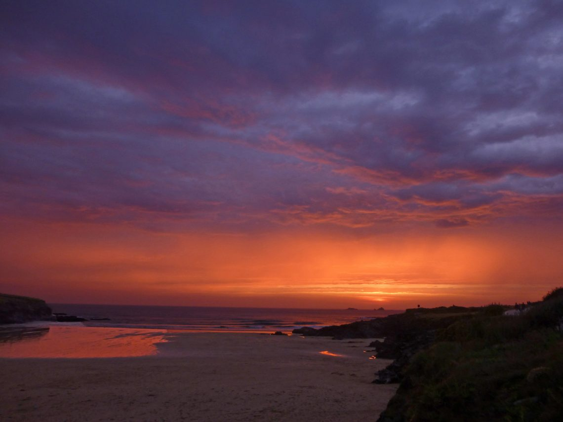 Stunning sunset over Treyarnon Bay Cornwall