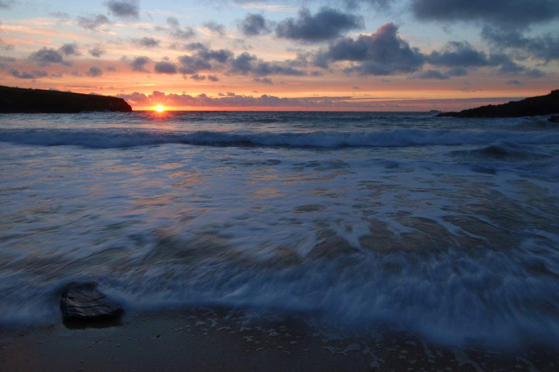 Treyarnon Bay at sunset in Cornwall