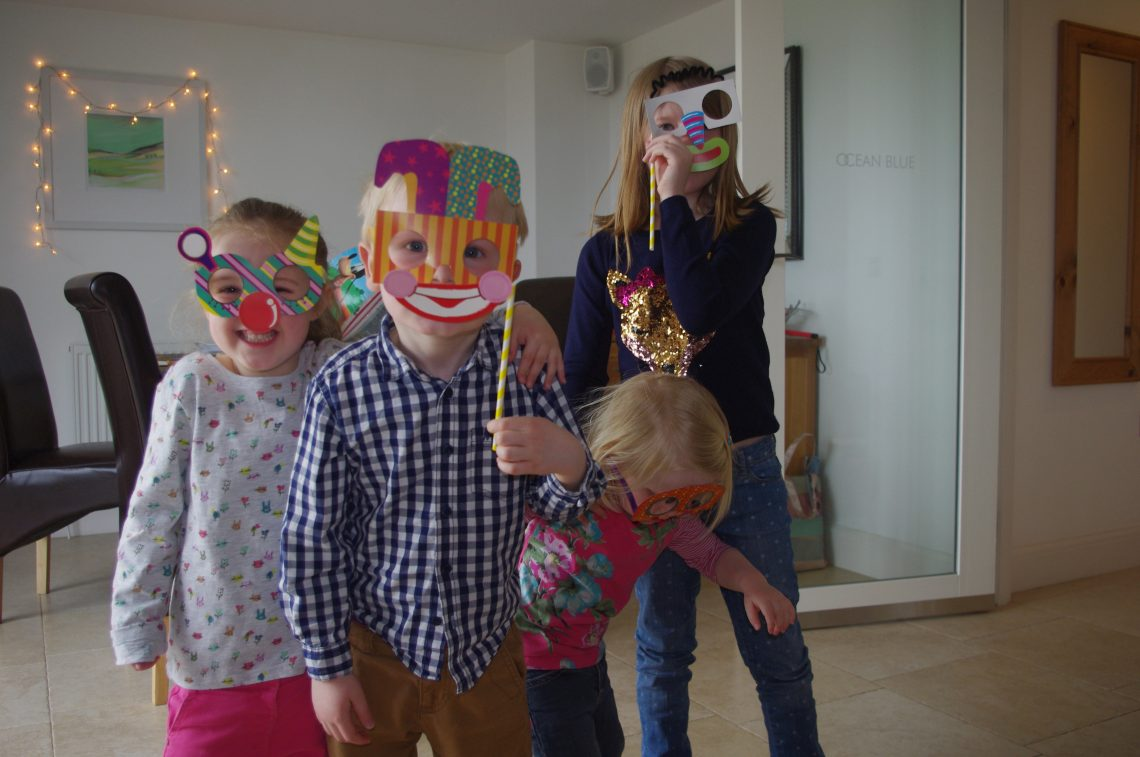 Children playing fancy dress in Cornwall holiday apartment