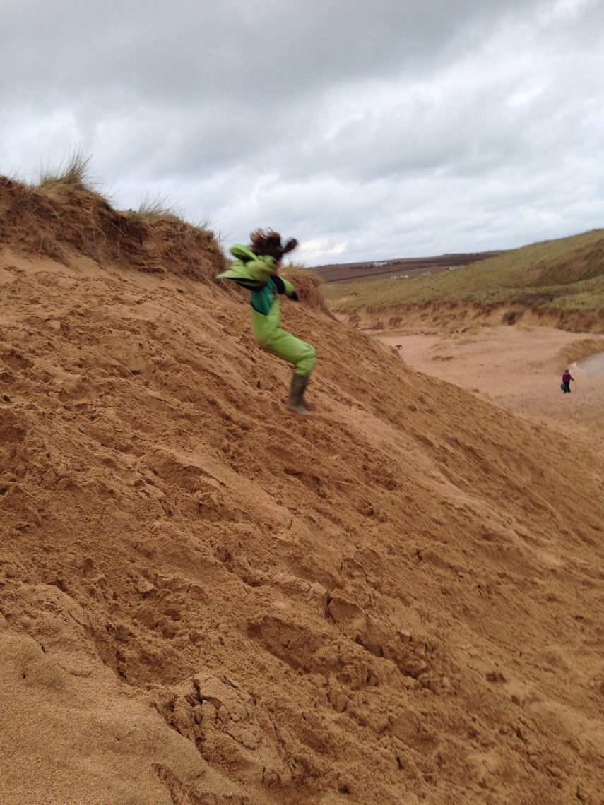 Sand dune jumping at Constantine Cornwall